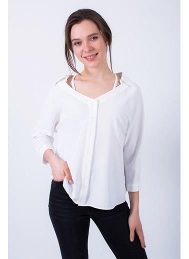 Clıche  İndigo Açık Yakalı Ince Askı Detaylı Bluz Beyaz